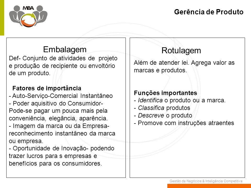 Gestão de Negócios & Inteligência Competitiva Gerência de Produto Embalagem Def- Conjunto de atividades de projeto e produção de recipiente ou envoltó