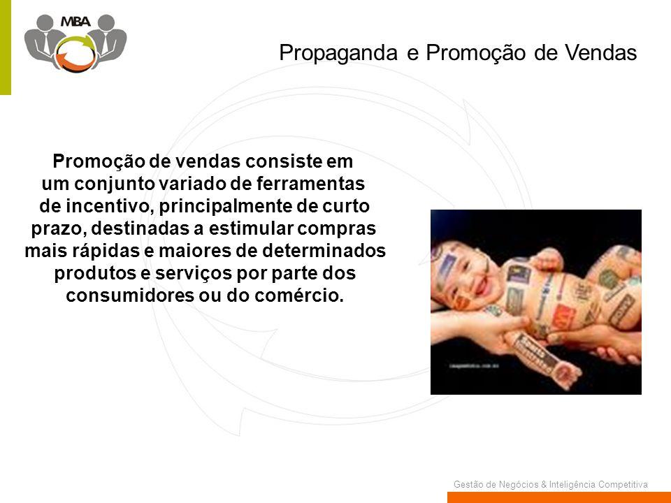 Gestão de Negócios & Inteligência Competitiva Propaganda e Promoção de Vendas Promoção de vendas consiste em um conjunto variado de ferramentas de inc