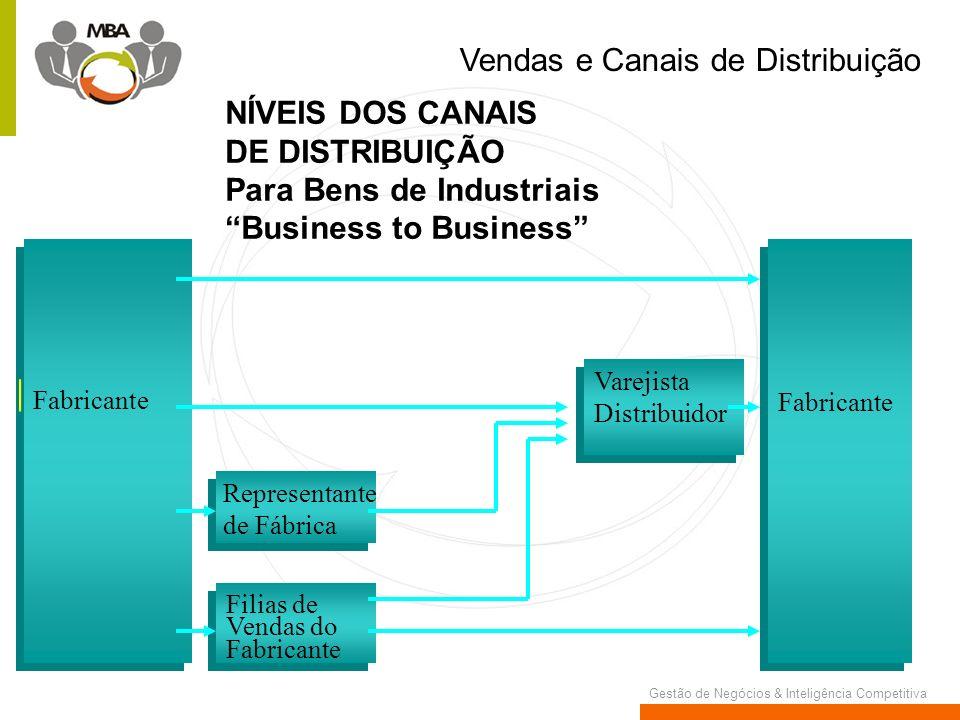 Gestão de Negócios & Inteligência Competitiva Fabricante Representante de Fábrica Filias de Vendas do Fabricante Varejista Distribuidor Vendas e Canai