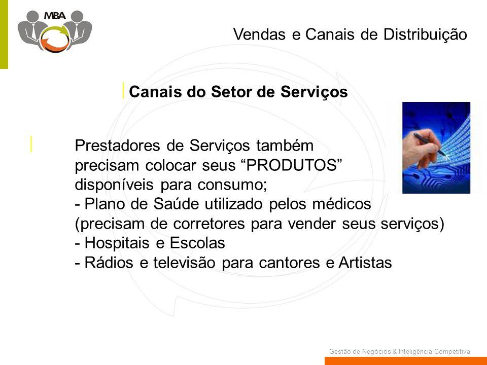Gestão de Negócios & Inteligência Competitiva Prestadores de Serviços também precisam colocar seus PRODUTOS disponíveis para consumo; - Plano de Saúde