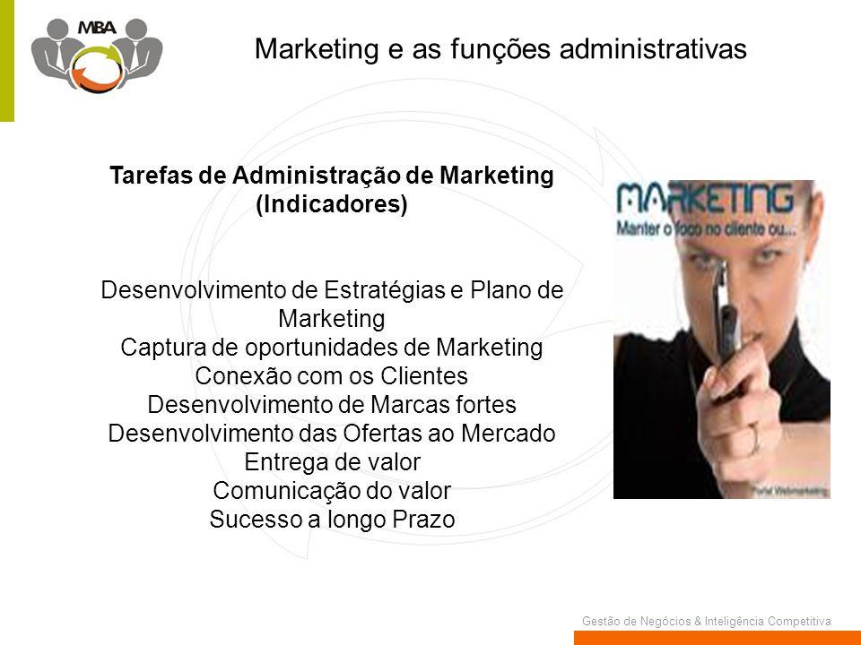 Gestão de Negócios & Inteligência Competitiva Marketing e as funções administrativas Tarefas de Administração de Marketing (Indicadores) Desenvolvimen