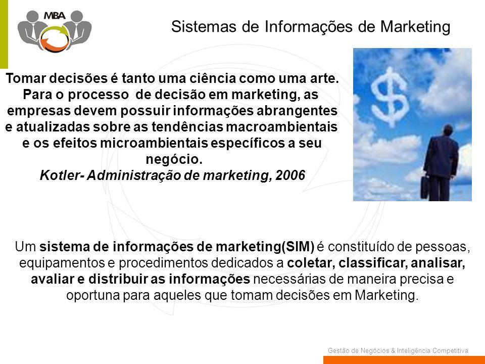 Gestão de Negócios & Inteligência Competitiva Sistemas de Informações de Marketing Tomar decisões é tanto uma ciência como uma arte. Para o processo d