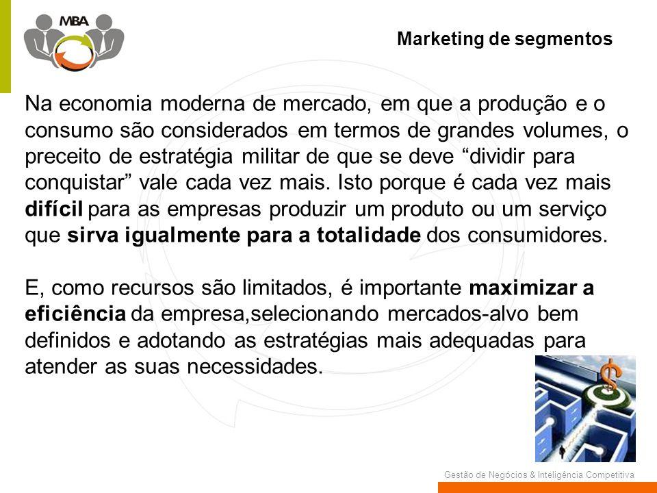 Gestão de Negócios & Inteligência Competitiva Marketing de segmentos Na economia moderna de mercado, em que a produção e o consumo são considerados em