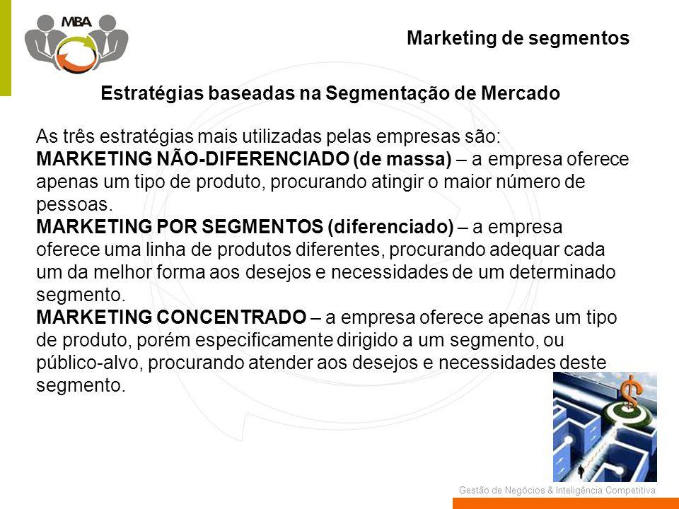 Gestão de Negócios & Inteligência Competitiva Marketing de segmentos Estratégias baseadas na Segmentação de Mercado As três estratégias mais utilizada