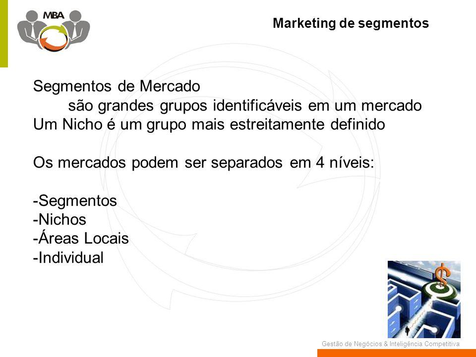 Gestão de Negócios & Inteligência Competitiva Marketing de segmentos Segmentos de Mercado são grandes grupos identificáveis em um mercado Um Nicho é u