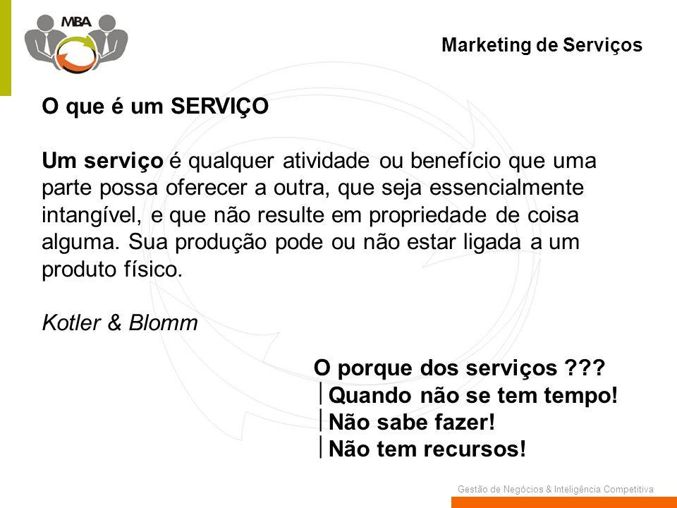 Gestão de Negócios & Inteligência Competitiva Marketing de Serviços O que é um SERVIÇO Um serviço é qualquer atividade ou benefício que uma parte poss