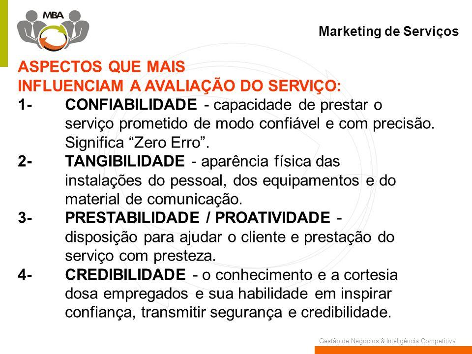 Gestão de Negócios & Inteligência Competitiva Marketing de Serviços ASPECTOS QUE MAIS INFLUENCIAM A AVALIAÇÃO DO SERVIÇO: 1-CONFIABILIDADE - capacidad