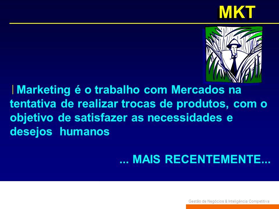 Gestão de Negócios & Inteligência Competitiva MKT Marketing é o trabalho com Mercados na tentativa de realizar trocas de produtos, com o objetivo de s