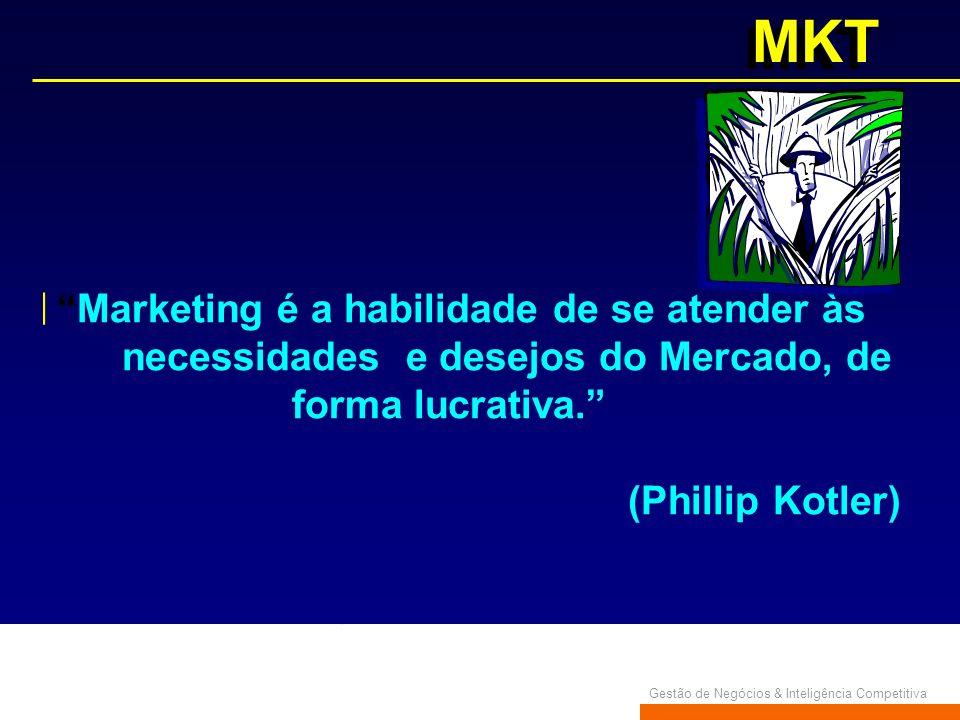 Gestão de Negócios & Inteligência Competitiva MKT Marketing é a habilidade de se atender às necessidades e desejos do Mercado, de forma lucrativa. (Ph