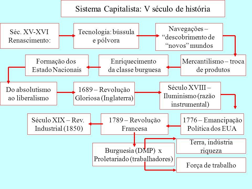 Sistema Capitalista: V século de história Séc. XV-XVI Renascimento: Tecnologia: bússula e pólvora Navegações – descobrimento de novos mundos Mercantil