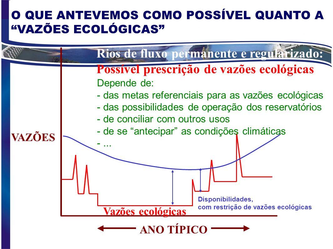 ANO TÍPICO Rios de fluxo permanente e regularizado: Possível prescrição de vazões ecológicas VAZÕES Vazões ecológicas Disponibilidades, com restrição