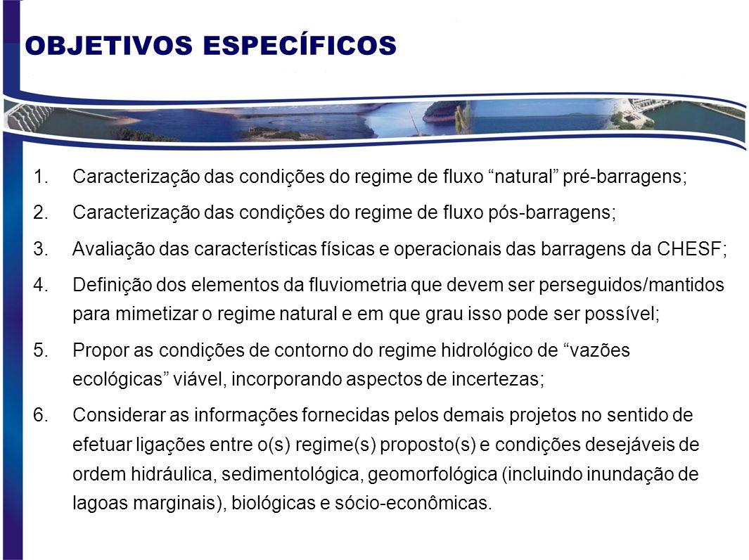 OBJETIVO GERAL Caracterização do regime fluvial, nos períodos pré e pós- implantação das barragens da CHESF, e identificação de índices hidrológicos p