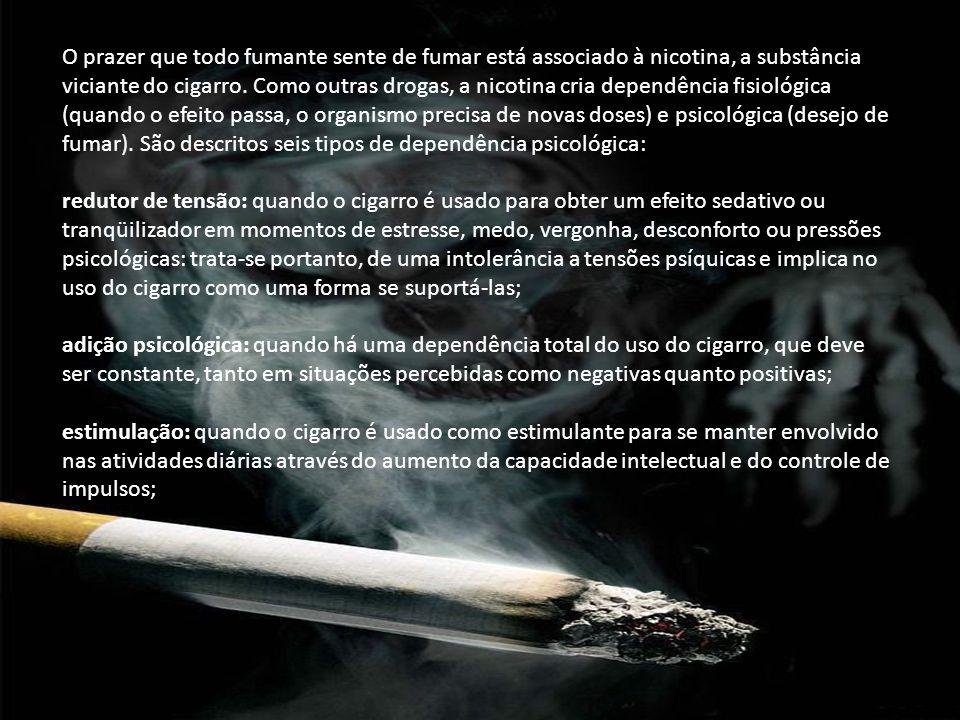 O prazer que todo fumante sente de fumar está associado à nicotina, a substância viciante do cigarro. Como outras drogas, a nicotina cria dependência