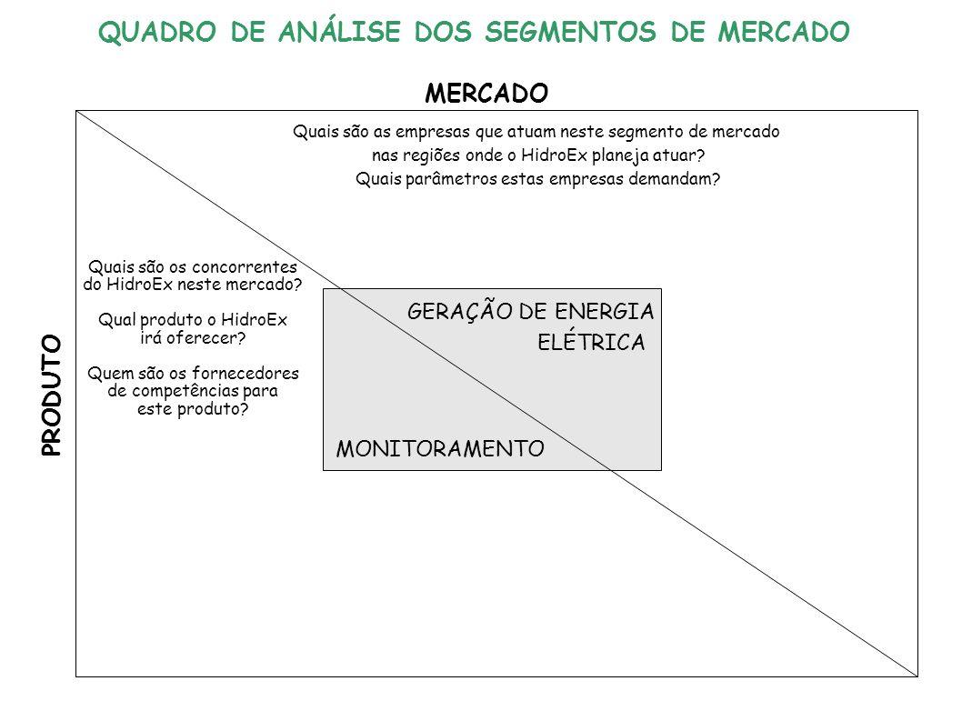 GERAÇÃO DE ENERGIA ELÉTRICA MONITORAMENTO MERCADO PRODUTO Quais são as empresas que atuam neste segmento de mercado nas regiões onde o HidroEx planeja atuar.