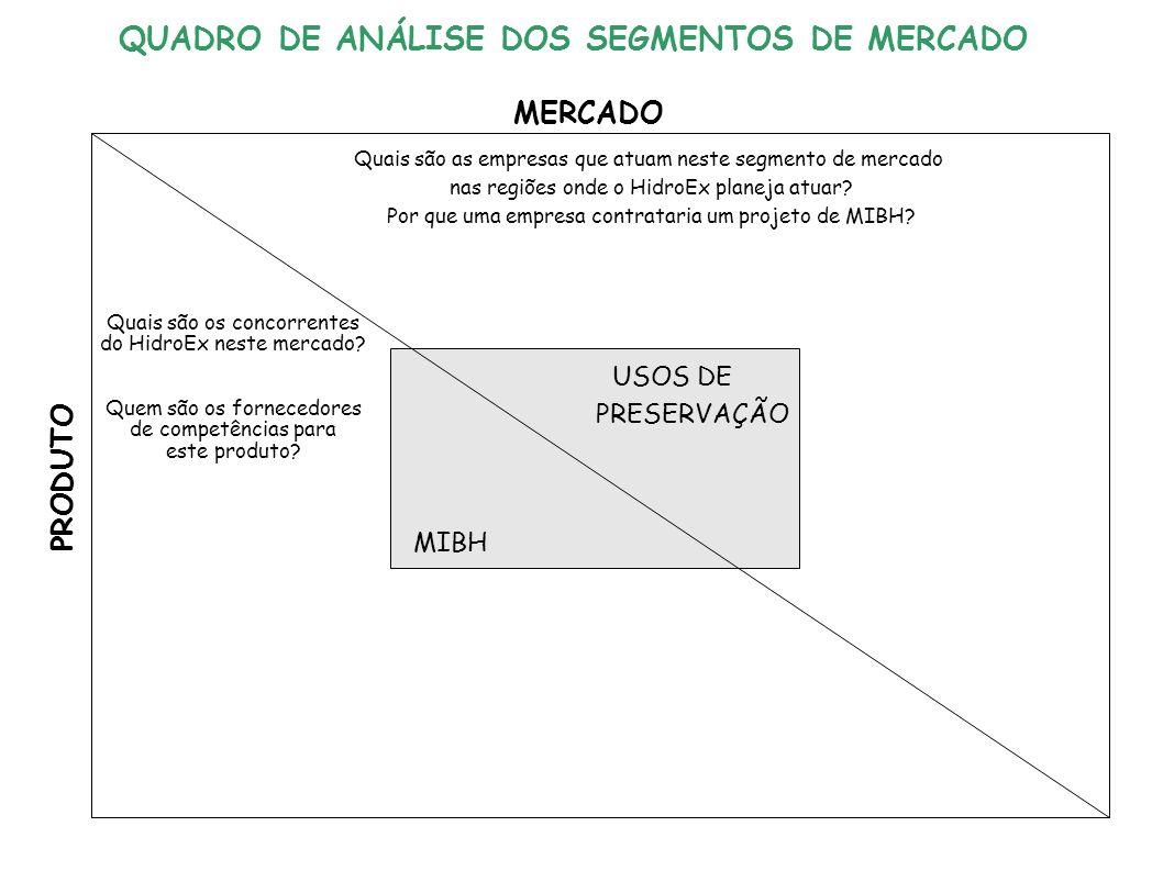 USOS DE PRESERVAÇÃO MIBH MERCADO PRODUTO Quais são as empresas que atuam neste segmento de mercado nas regiões onde o HidroEx planeja atuar.