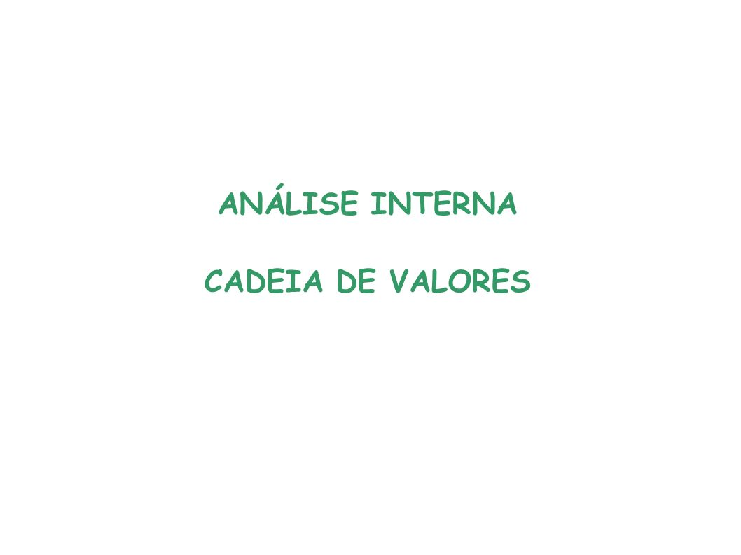 ANÁLISE INTERNA CADEIA DE VALORES