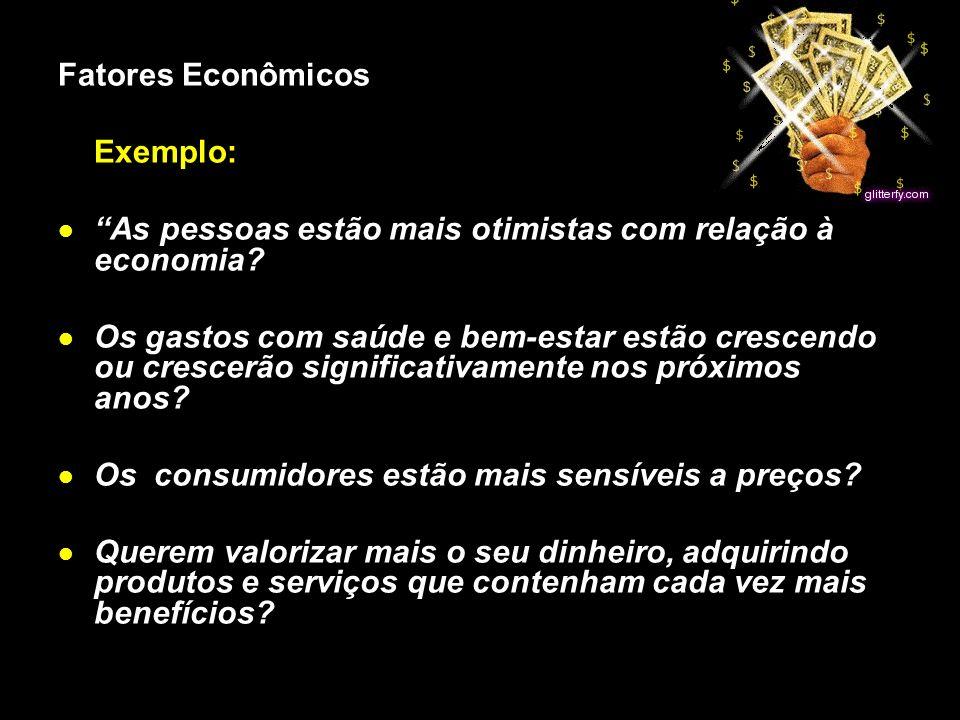 X Xx X x Fatores Econômicos Exemplo: As pessoas estão mais otimistas com relação à economia? Os gastos com saúde e bem-estar estão crescendo ou cresce