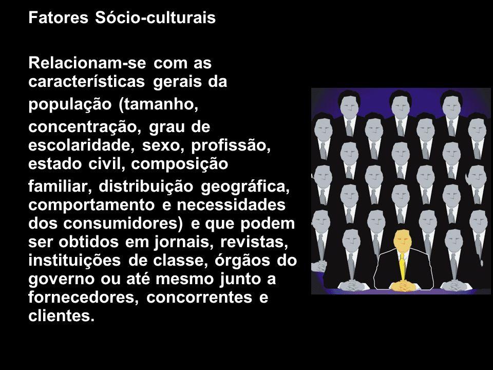 X Xx X x Fatores Sócio-culturais Relacionam-se com as características gerais da população (tamanho, concentração, grau de escolaridade, sexo, profissã