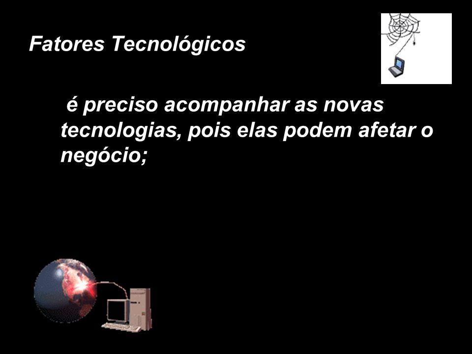 X Xx X x Fatores Tecnológicos é preciso acompanhar as novas tecnologias, pois elas podem afetar o negócio;