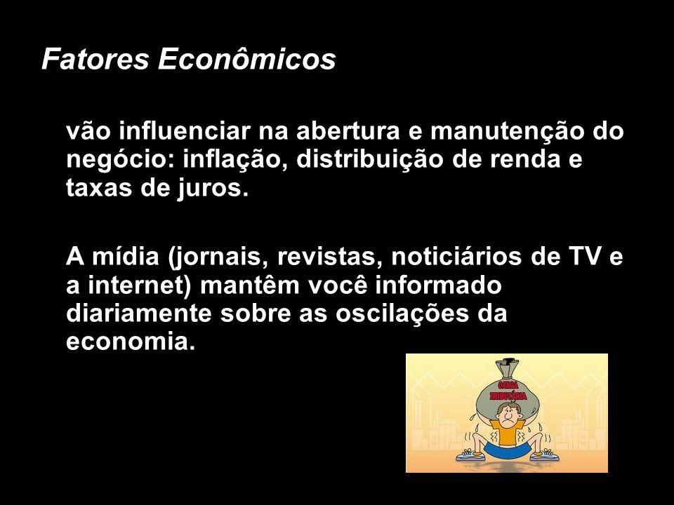 X Xx X x Fatores Econômicos vão influenciar na abertura e manutenção do negócio: inflação, distribuição de renda e taxas de juros. A mídia (jornais, r
