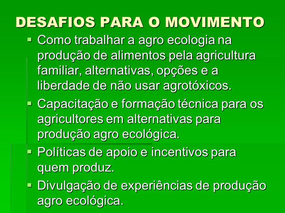 DESAFIOS PARA O MOVIMENTO Como trabalhar a agro ecologia na produção de alimentos pela agricultura familiar, alternativas, opções e a liberdade de não