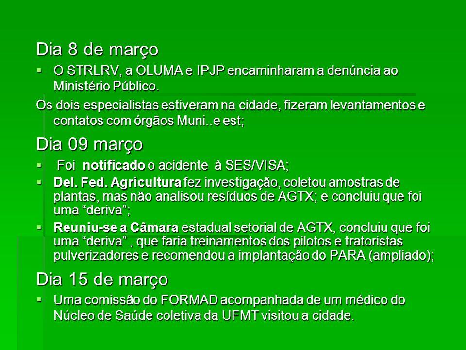 Dia 8 de março O STRLRV, a OLUMA e IPJP encaminharam a denúncia ao Ministério Público. O STRLRV, a OLUMA e IPJP encaminharam a denúncia ao Ministério