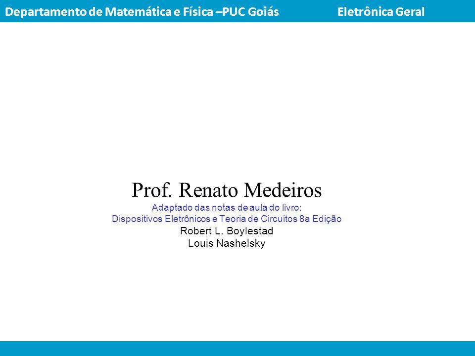 Prof. Renato Medeiros Adaptado das notas de aula do livro: Dispositivos Eletrônicos e Teoria de Circuitos 8a Edição Robert L. Boylestad Louis Nashelsk