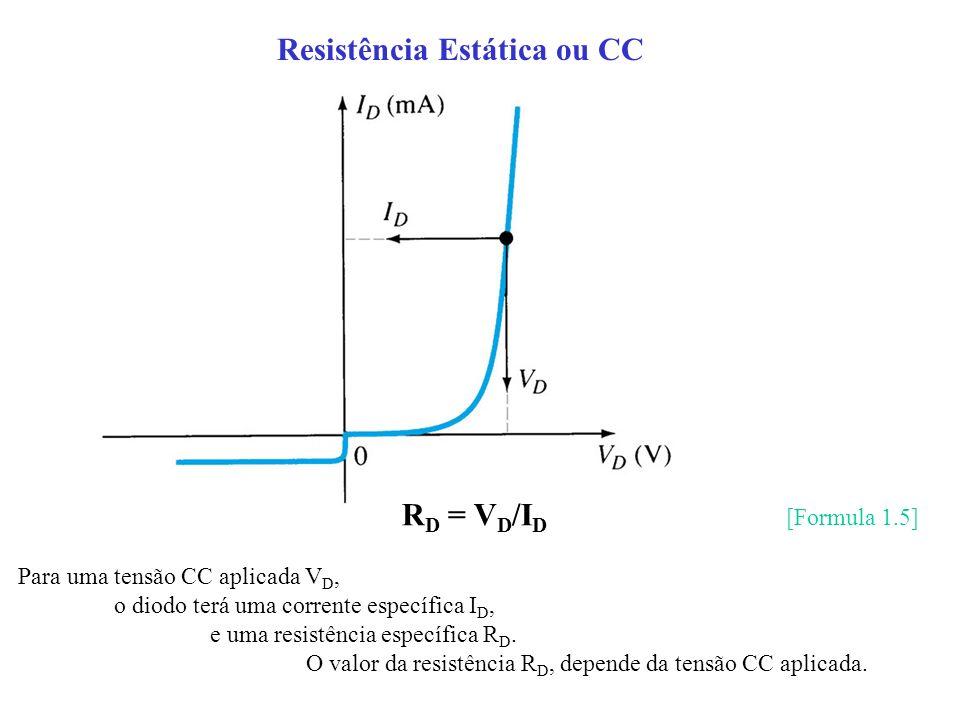 R D = V D /I D [Formula 1.5] Para uma tensão CC aplicada V D, o diodo terá uma corrente específica I D, e uma resistência específica R D. O valor da r