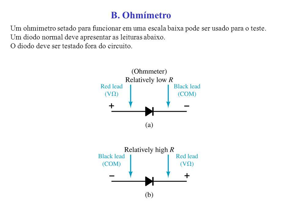 Um ohmimetro setado para funcionar em uma escala baixa pode ser usado para o teste. Um diodo normal deve apresentar as leituras abaixo. O diodo deve s