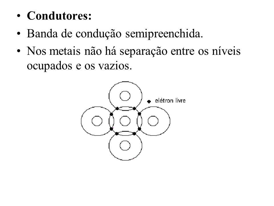 Semicondutor: Possuem BV completa e BC livre, só que com uma diferença, o gap de energia não é tão grande, menor que 2 eV.