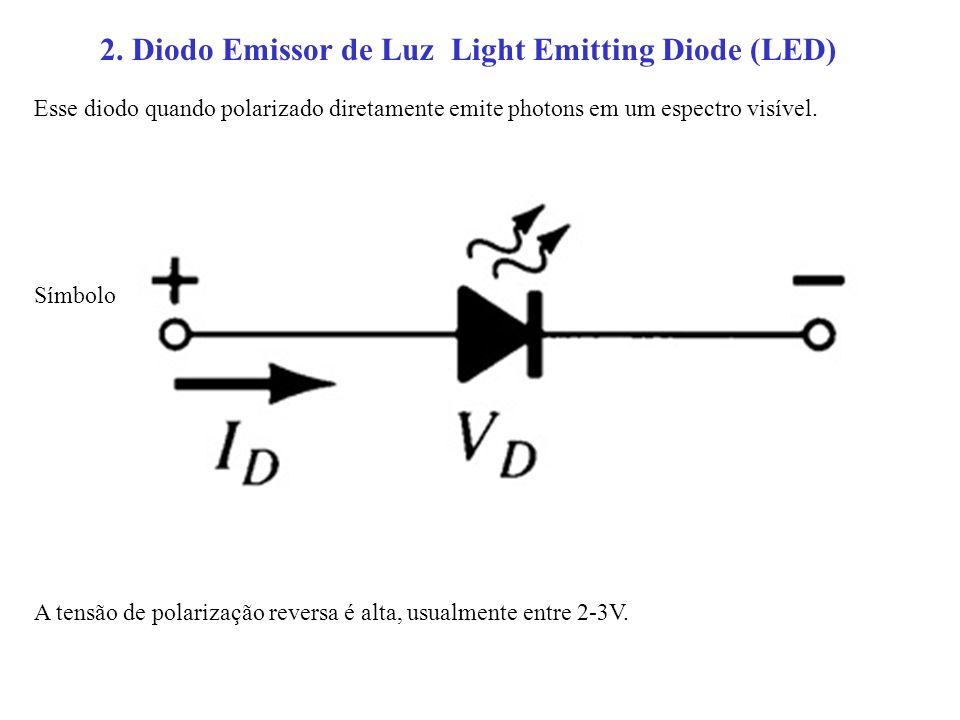 2. Diodo Emissor de Luz Light Emitting Diode (LED) Esse diodo quando polarizado diretamente emite photons em um espectro visível. Símbolo A tensão de