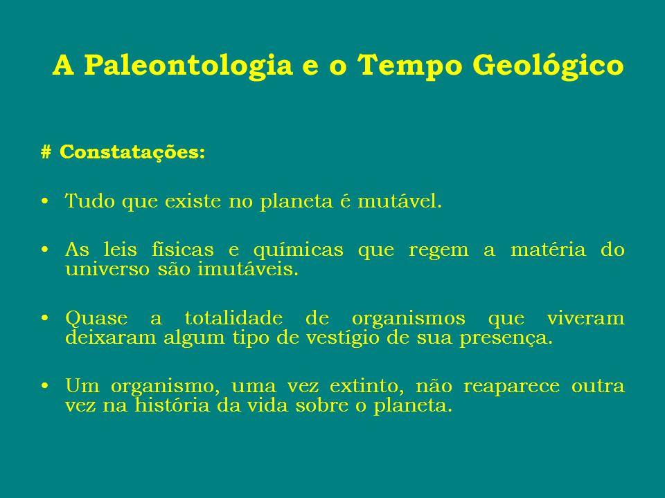 A Paleontologia e o Tempo Geológico # Constatações: Tudo que existe no planeta é mutável. As leis físicas e químicas que regem a matéria do universo s