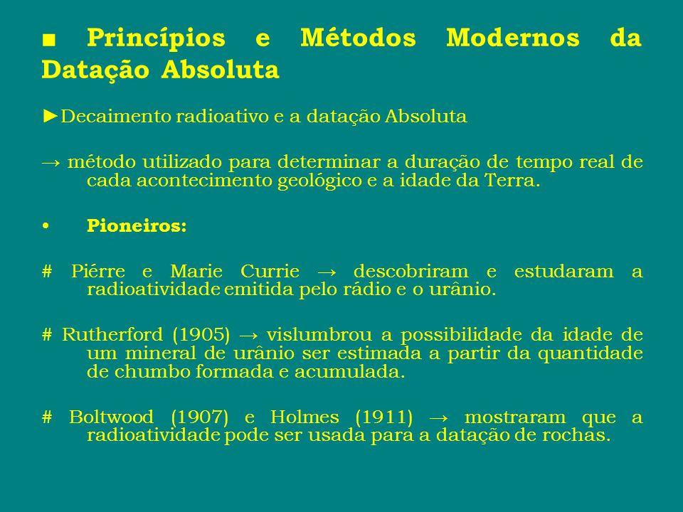 Princípios e Métodos Modernos da Datação Absoluta Decaimento radioativo e a datação Absoluta método utilizado para determinar a duração de tempo real