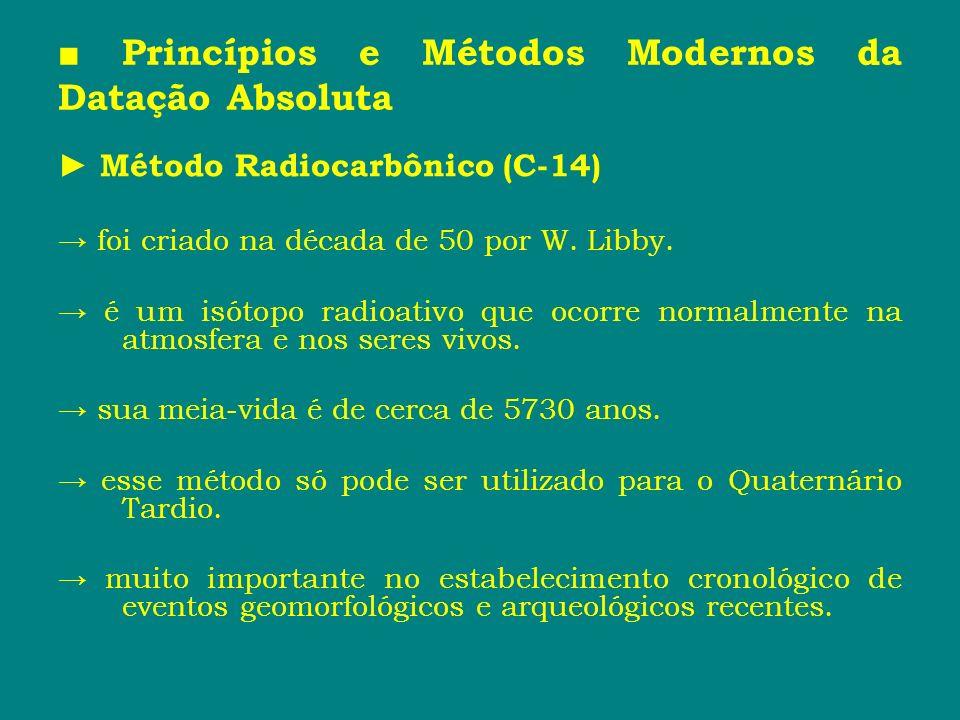 Princípios e Métodos Modernos da Datação Absoluta Método Radiocarbônico (C-14) foi criado na década de 50 por W. Libby. é um isótopo radioativo que oc