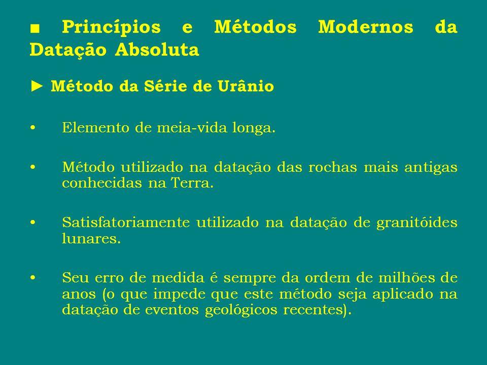 Princípios e Métodos Modernos da Datação Absoluta Método da Série de Urânio Elemento de meia-vida longa. Método utilizado na datação das rochas mais a