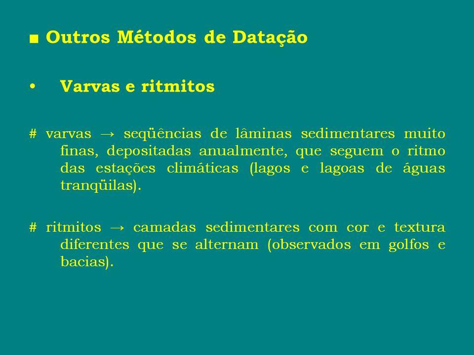 Outros Métodos de Datação Varvas e ritmitos # varvas seqüências de lâminas sedimentares muito finas, depositadas anualmente, que seguem o ritmo das es