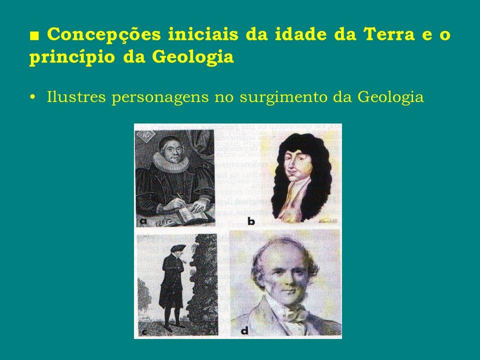 Concepções iniciais da idade da Terra e o princípio da Geologia Ilustres personagens no surgimento da Geologia