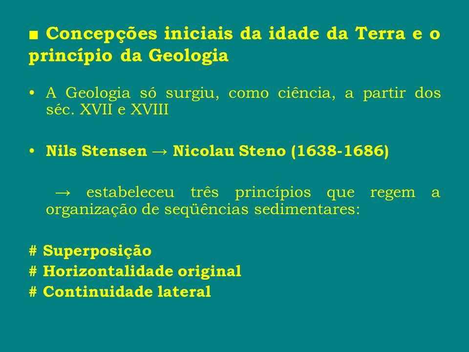Concepções iniciais da idade da Terra e o princípio da Geologia A Geologia só surgiu, como ciência, a partir dos séc. XVII e XVIII Nils Stensen Nicola