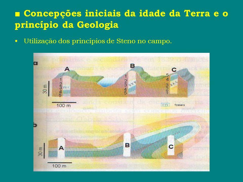 Concepções iniciais da idade da Terra e o princípio da Geologia Utilização dos princípios de Steno no campo.