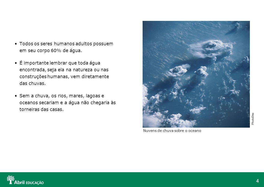 4 Todos os seres humanos adultos possuem em seu corpo 60% de água. É importante lembrar que toda água encontrada, seja ela na natureza ou nas construç