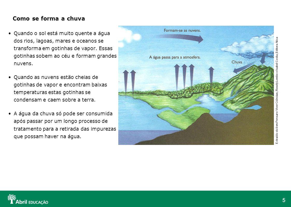 5 Quando o sol está muito quente a água dos rios, lagoas, mares e oceanos se transforma em gotinhas de vapor. Essas gotinhas sobem ao céu e formam gra