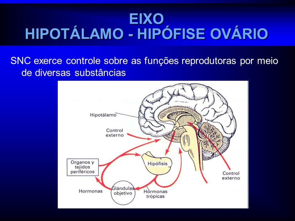 SNC exerce controle sobre as funções reprodutoras por meio de diversas substâncias EIXO HIPOTÁLAMO - HIPÓFISE OVÁRIO