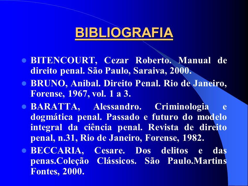 BIBLIOGRAFIA BITENCOURT, Cezar Roberto. Manual de direito penal. São Paulo, Saraiva, 2000. BRUNO, Anibal. Direito Penal. Rio de Janeiro, Forense, 1967