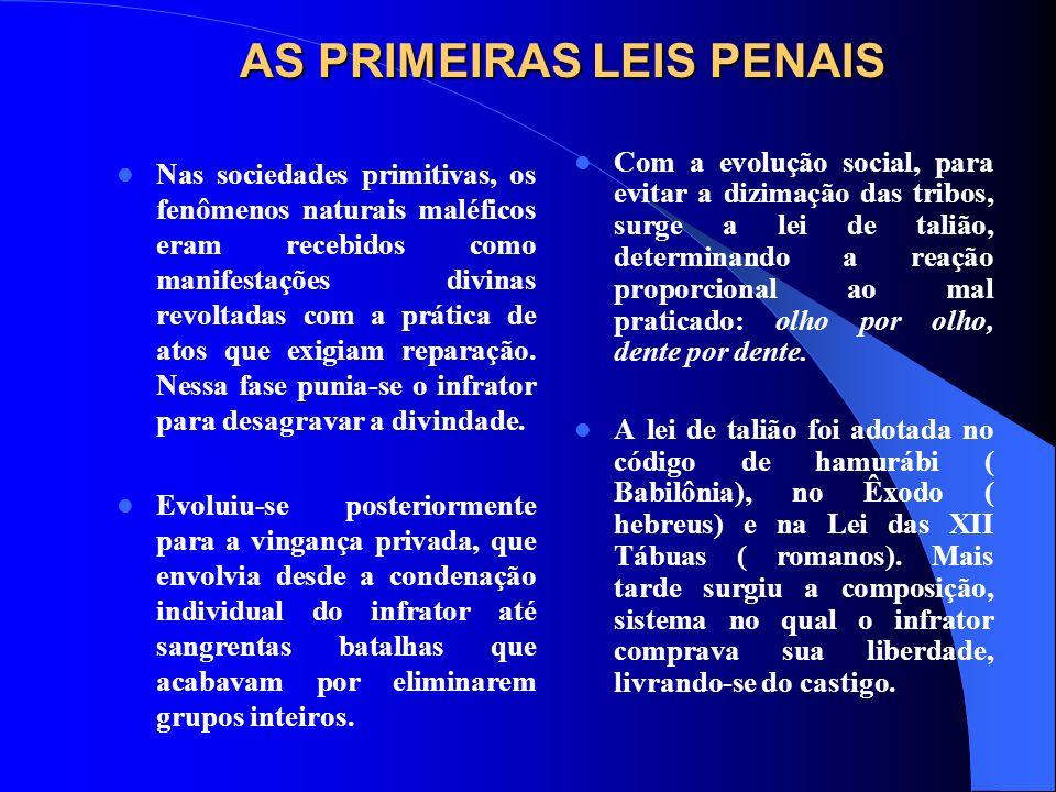 AS PRIMEIRAS LEIS PENAIS Nas sociedades primitivas, os fenômenos naturais maléficos eram recebidos como manifestações divinas revoltadas com a prática