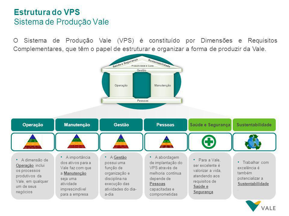 O Sistema de Produção Vale (VPS) é constituído por Dimensões e Requisitos Complementares, que têm o papel de estruturar e organizar a forma de produzir da Vale.