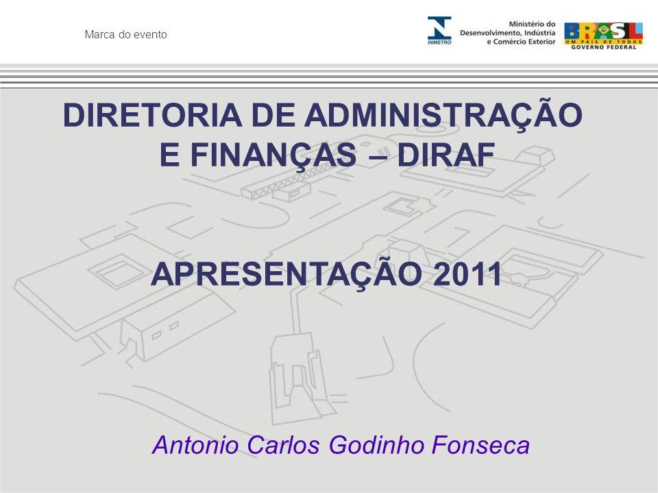 Marca do evento DIRETORIA DE ADMINISTRAÇÃO E FINANÇAS – DIRAF APRESENTAÇÃO 2011 Antonio Carlos Godinho Fonseca