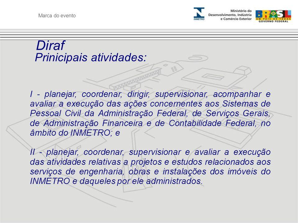 Marca do evento Diraf I - planejar, coordenar, dirigir, supervisionar, acompanhar e avaliar a execução das ações concernentes aos Sistemas de Pessoal