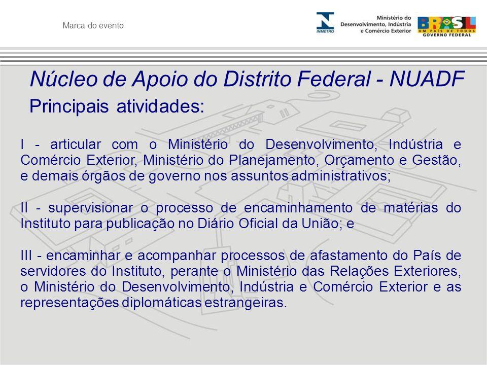 Marca do evento Núcleo de Apoio do Distrito Federal - NUADF Principais atividades: I - articular com o Ministério do Desenvolvimento, Indústria e Comé