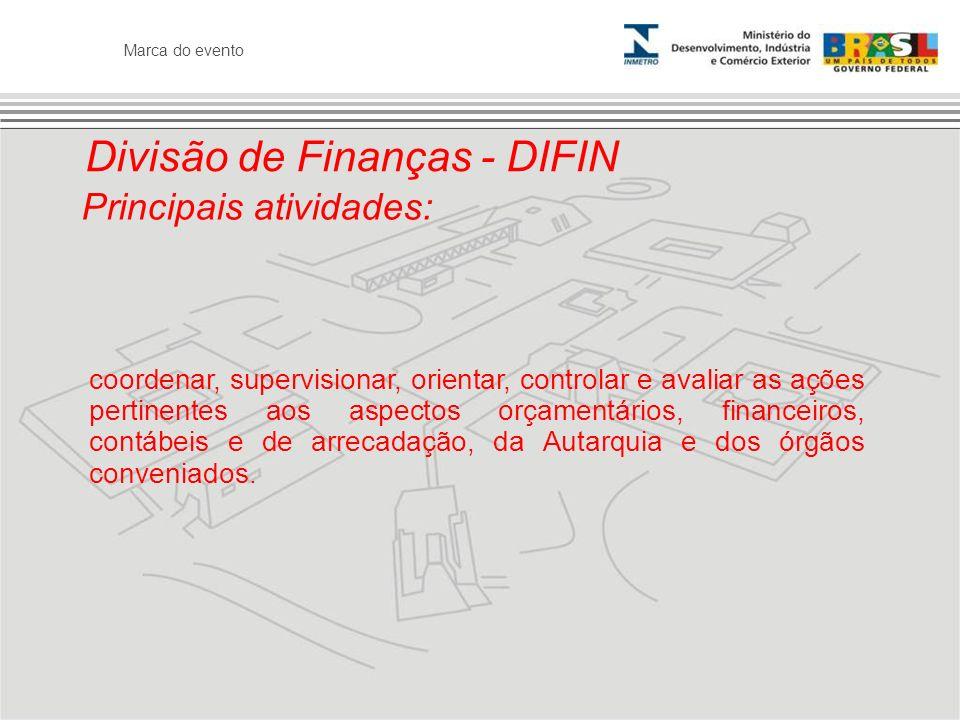 Marca do evento Divisão de Finanças - DIFIN Principais atividades: coordenar, supervisionar, orientar, controlar e avaliar as ações pertinentes aos as
