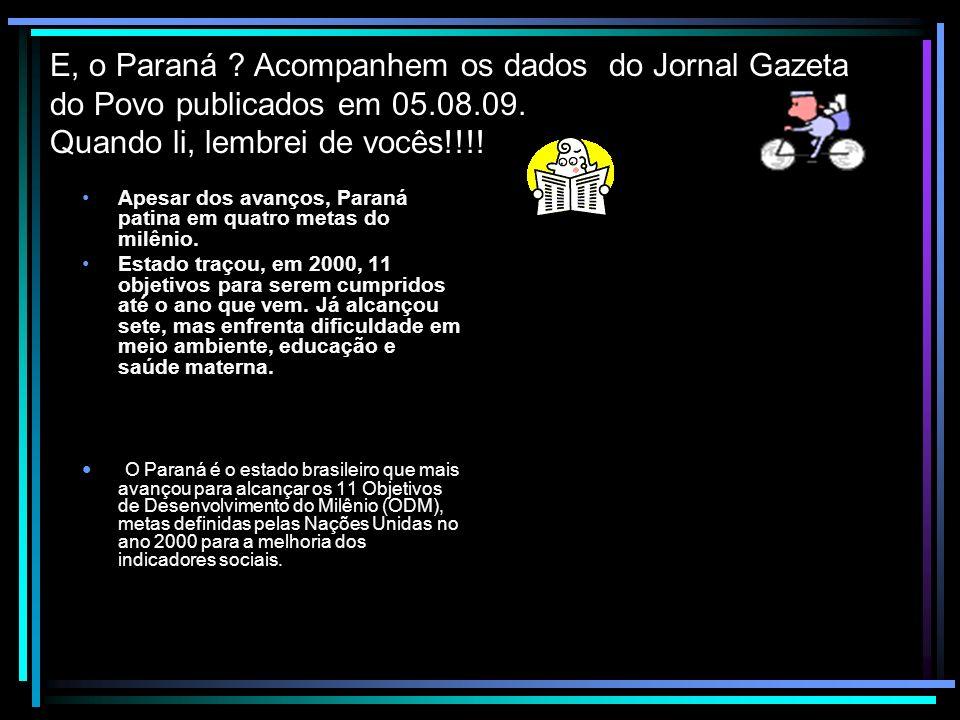 E, o Paraná ? Acompanhem os dados do Jornal Gazeta do Povo publicados em 05.08.09. Quando li, lembrei de vocês!!!! Apesar dos avanços, Paraná patina e